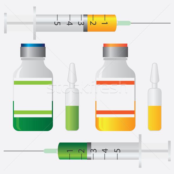 Foto stock: Vacinação · equipamento · seringa · garrafa · cuidar · pesquisa