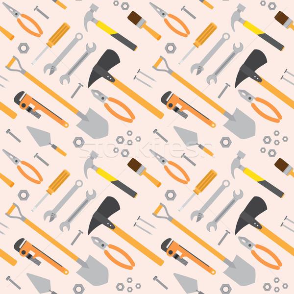 Naadloos tools patroon vector reparatie hamer Stockfoto © Neokryuger