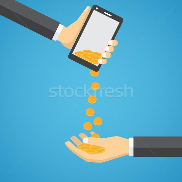 Золотые монеты падение мобильного телефона человека стороны бизнесмен Сток-фото © Neokryuger
