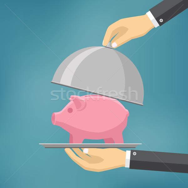 Biznesmen oferowanie skarbonka tablicy handlowych projektu Zdjęcia stock © Neokryuger