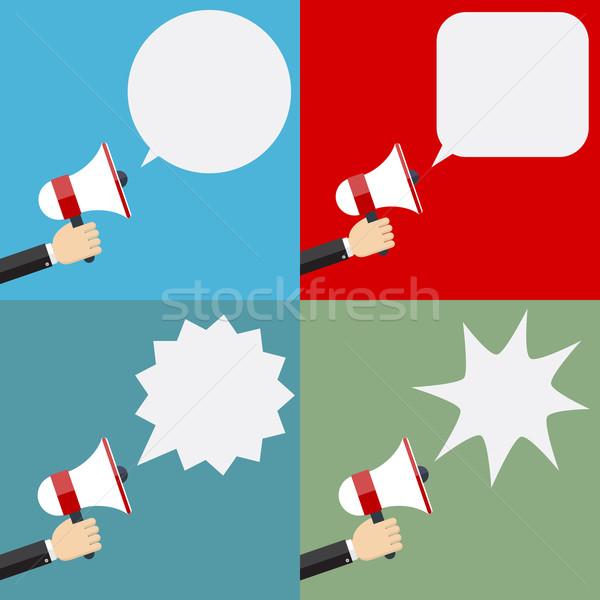Illustratie megafoon ingesteld ontwerp communicatie Stockfoto © Neokryuger