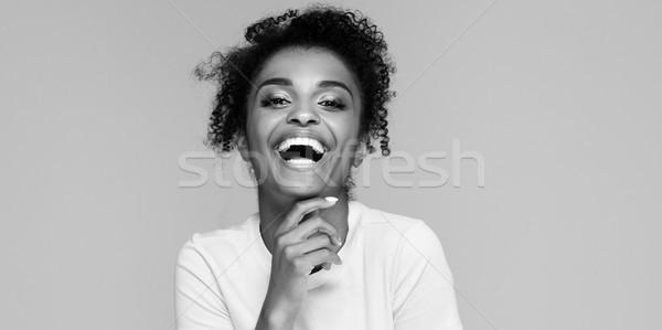 興奮した 笑みを浮かべて アフロ 少女 ポーズ アフリカ系アメリカ人 ストックフォト © NeonShot
