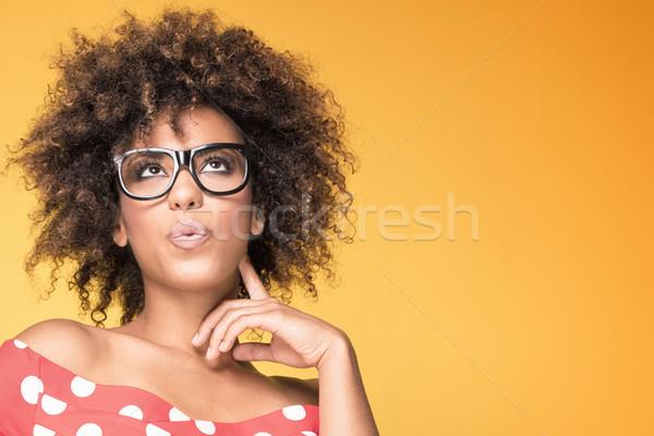 афроамериканец девушки очки желтый красивой молодые Сток-фото © NeonShot