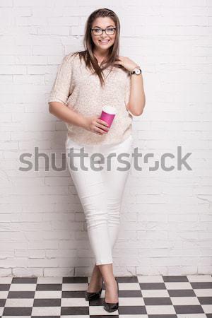 Szőke nő fiatal lány kék ruha gyönyörű fiatal nő Stock fotó © NeonShot
