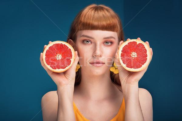девушки грейпфрут синий портрет красивой Сток-фото © NeonShot