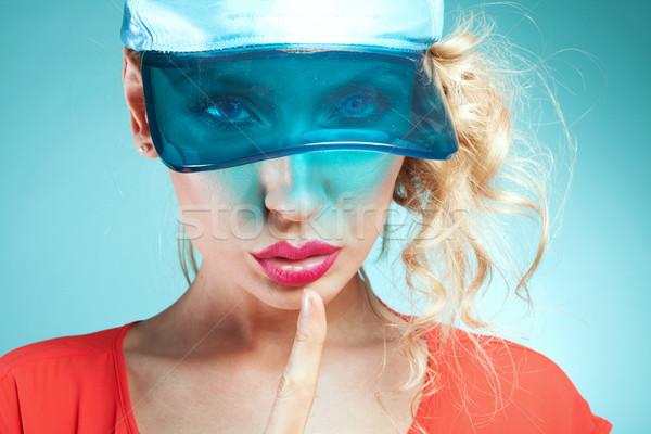 Kız sessiz imzalamak portre güzel Stok fotoğraf © NeonShot