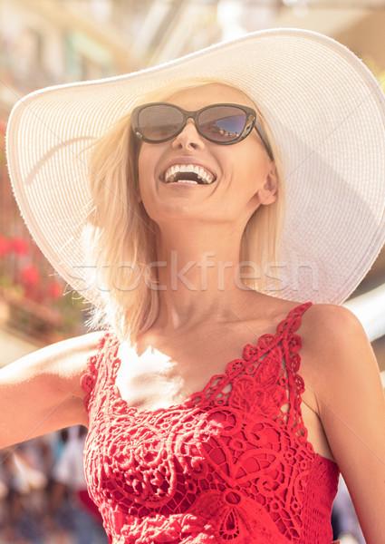 幸せ 美少女 着用 夏 帽子 女性 ストックフォト © NeonShot