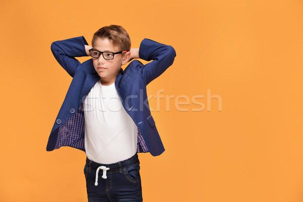 Photo stock: Peu · élégante · homme · lunettes · garçon · posant