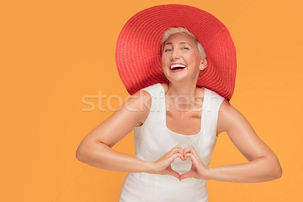 Meio idade sorrindo vermelho verão seis Foto stock © NeonShot
