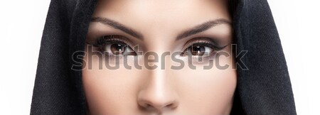 Closeup portrait of girl with brown eyes. Stock photo © NeonShot