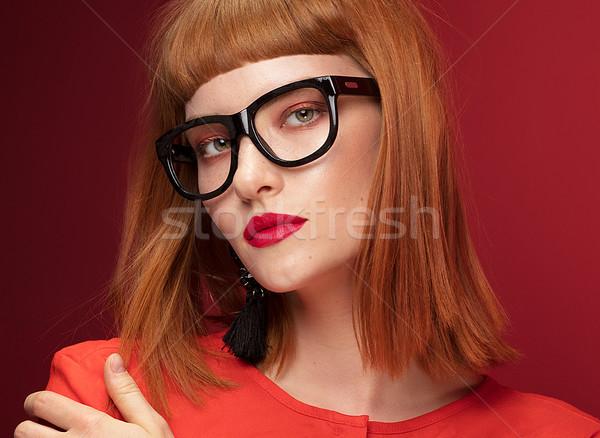 Foto stock: Colorido · retrato · mulher · jovem · bela · mulher