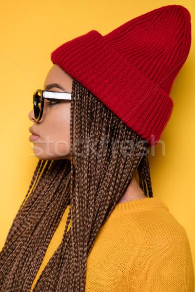 Stock fotó: Portré · divatos · fiatal · lány · fiatal · gyönyörű · afroamerikai