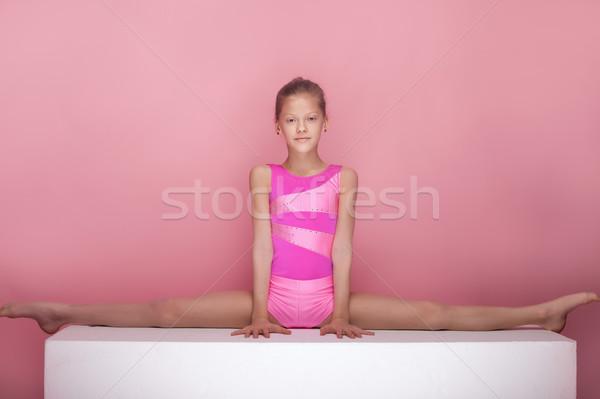 Jimnastik genç kız mutlu güzel kız stüdyo Stok fotoğraf © NeonShot