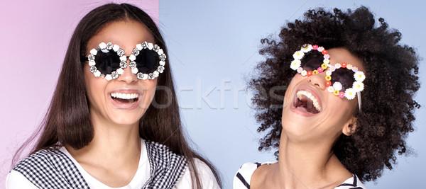 Сток-фото: два · афроамериканец · девочек · красивой · вместе