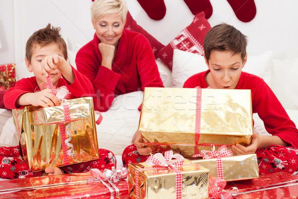 Csinos anya karácsony idő szórakozás boldogság Stock fotó © NeonShot