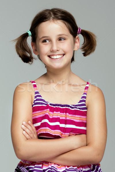 Genç kız poz moda elbise genç güzel kız Stok fotoğraf © NeonShot