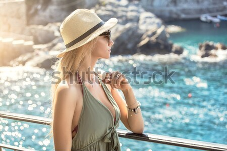 Glimlachend blond dame vakantie aantrekkelijke vrouw poseren Stockfoto © NeonShot