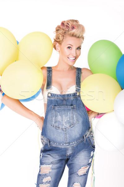 Gelukkig zwangere meisje ballonnen zwangere vrouw poseren Stockfoto © NeonShot