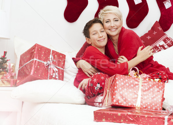 Pretty mother with son, christmas time. Stock photo © NeonShot