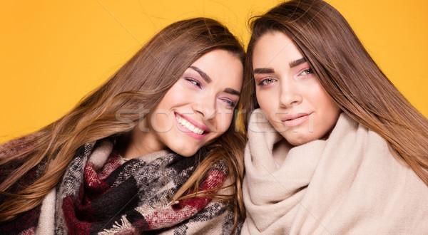 Wesoły bliźnięta siostry stwarzające szalik piękna Zdjęcia stock © NeonShot