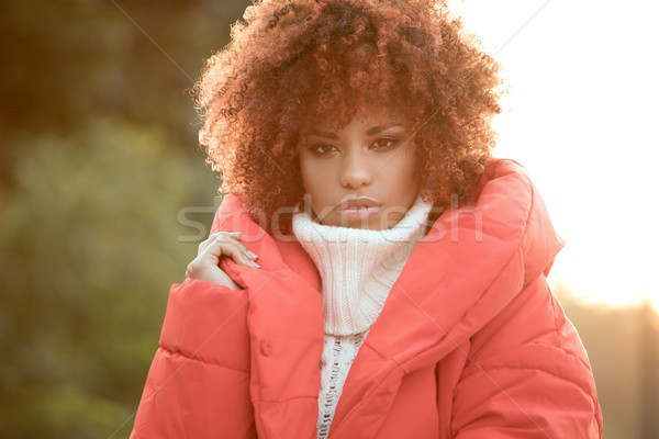 осень портрет афроамериканец девушки Открытый красивой Сток-фото © NeonShot
