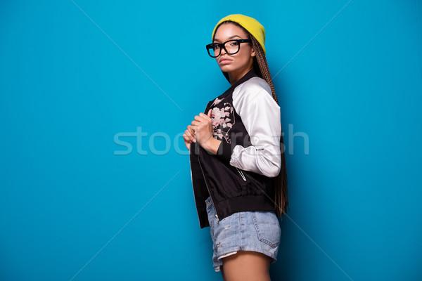 Divatos afroamerikai lány fiatal visel sapka Stock fotó © NeonShot