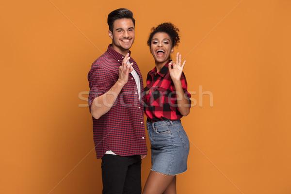 Heureux métis couple belle souriant Photo stock © NeonShot