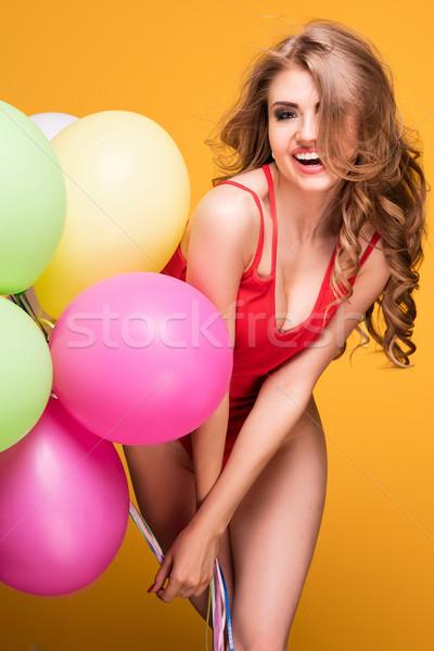 Meisje ballonnen poseren studio jonge mooie Stockfoto © NeonShot