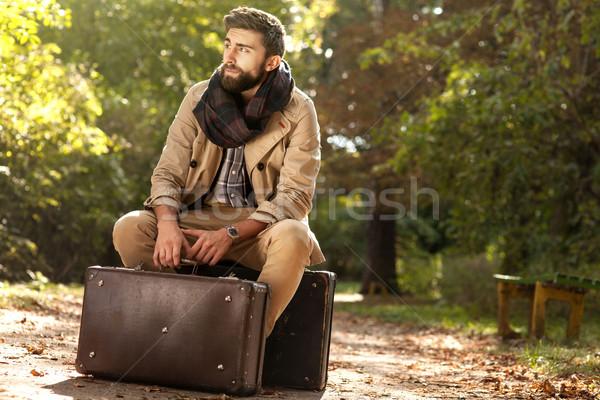 Сток-фото: модный · мужчин · осень · парка · моде · фото