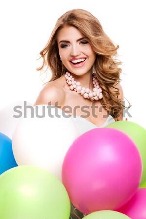 Glimlachend mooie meisje ballonnen mooie jonge Stockfoto © NeonShot
