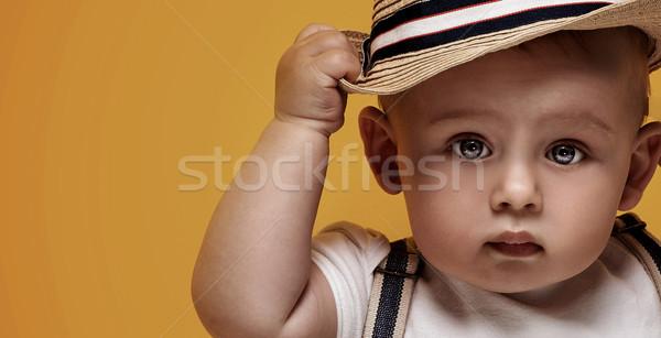 Imádnivaló kicsi baba fiú pózol aranyos Stock fotó © NeonShot