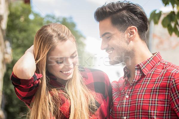 Gülen güzel çift kalma açık havada sevmek Stok fotoğraf © NeonShot