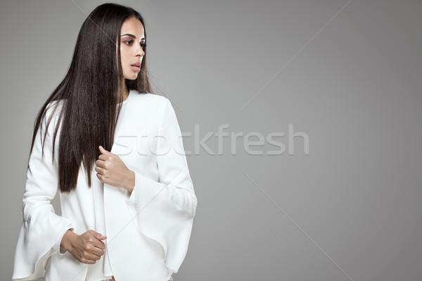 Stock fotó: Gyönyörű · afroamerikai · elegáns · nő · fiatal · pózol