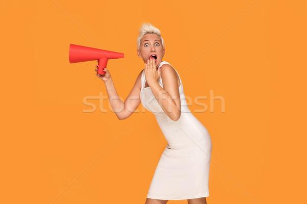 Orta yaş gülümseyen kadın kırmızı megafon zarif Stok fotoğraf © NeonShot