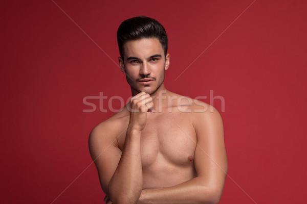 Homem bonito posando topless muscular caber corpo Foto stock © NeonShot