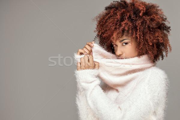 Beautiful woman with afro hairstyle posing. Stock photo © NeonShot