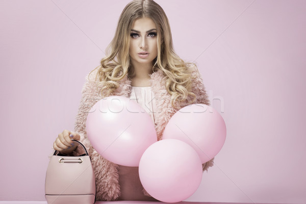 Mode Foto blonde Frau rosa High Fashion posiert Stock foto © NeonShot