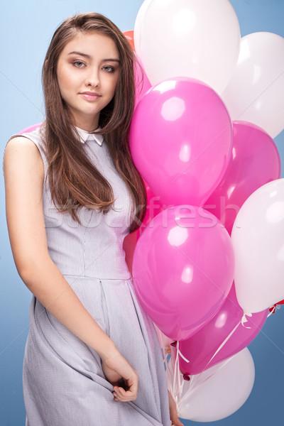 Stockfoto: Jonge · tienermeisje · studio · mooie · poseren · ballonnen