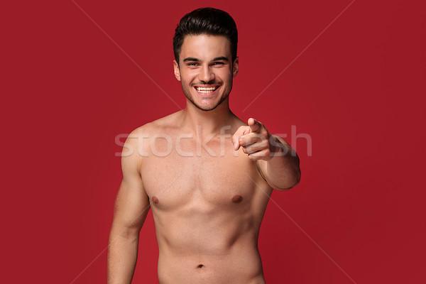 Przystojny szczęśliwy człowiek stwarzające topless przystojny mężczyzna Zdjęcia stock © NeonShot