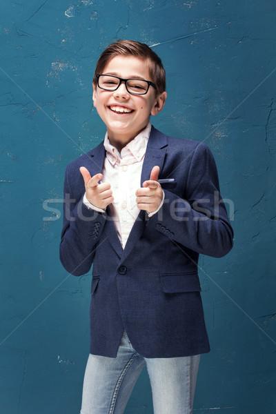 Stock fotó: Okos · fiú · szemüveg · mosolyog · gyerek · pózol