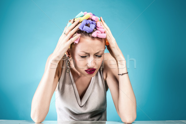 Pain concept. Woman with headache. Stock photo © NeonShot