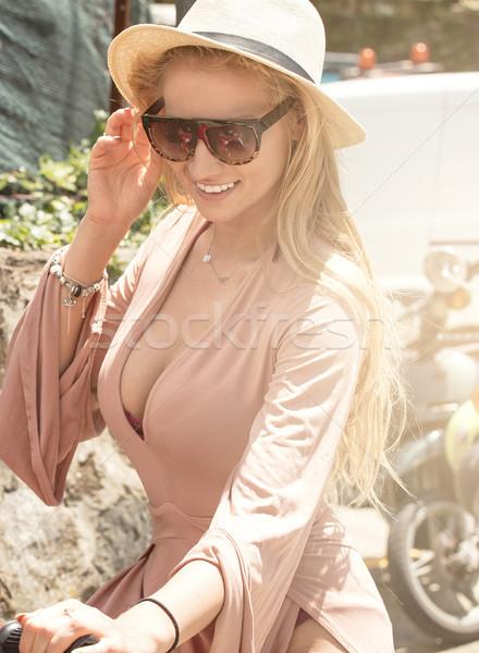 Photo stock: Belle · femme · blonde · fille · équitation