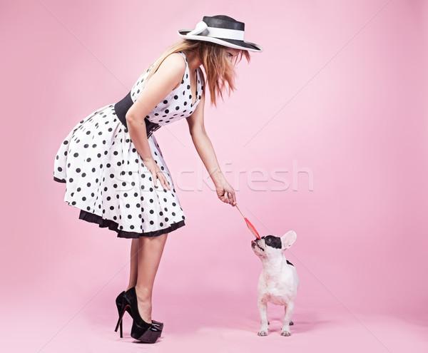 Pinup kobieta psa modny stwarzające cute Zdjęcia stock © NeonShot