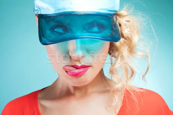 Portret grappig meisje mooie blonde vrouw Stockfoto © NeonShot