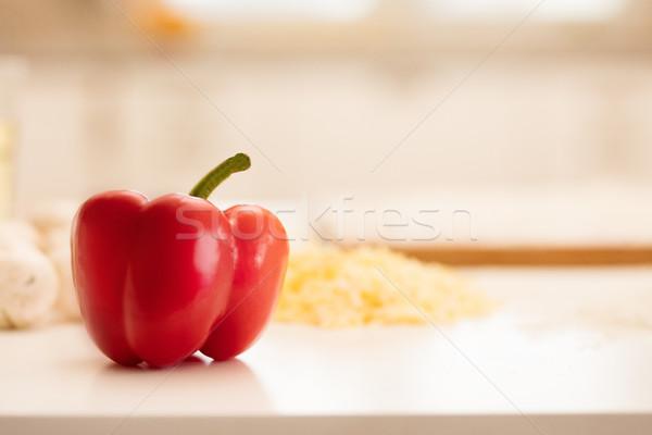 Friss piros piros paprika asztal étel háttér Stock fotó © NeonShot