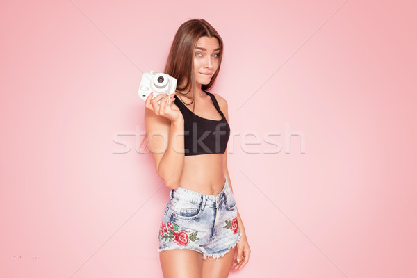 小さな ファッショナブル 少女 ピンク 美しい 白人 ストックフォト © NeonShot