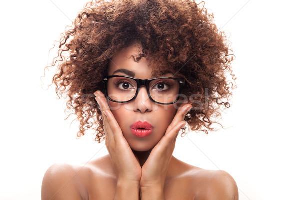 Portret jong meisje afro jonge mooie afro-amerikaanse Stockfoto © NeonShot