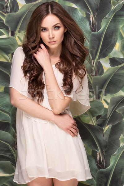 Smiling brunette girl in summer dress. Stock photo © NeonShot