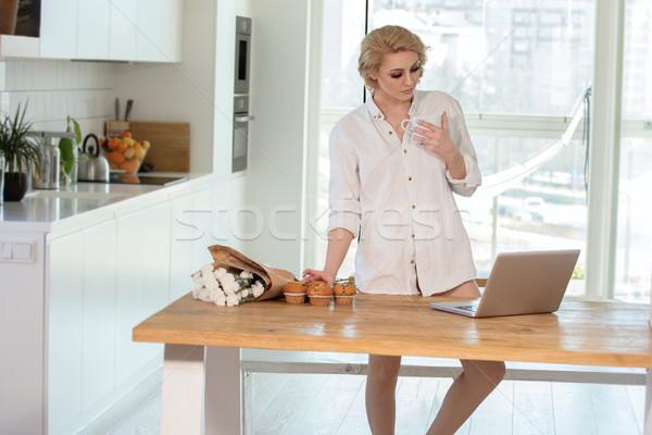 Freelancer woman working at home. Stock photo © NeonShot