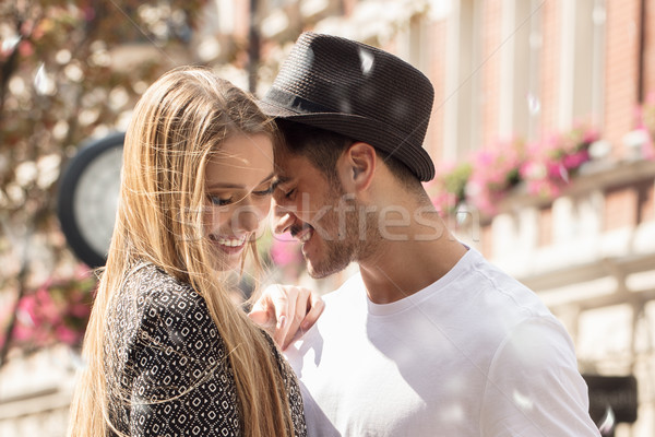красивой пару знакомства улыбаясь улице Сток-фото © NeonShot
